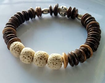 Bracelet with lava stone and coconut.