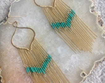 Lotus fringe tassel earrings
