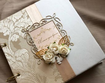 Wedding gold photo album with personalize of names in frame