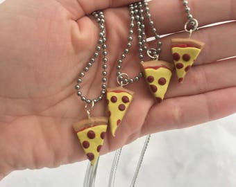 Pizza Charm Necklace, Miniature Food Polymer Clay Jewelry, Slice of Pizza Pendant