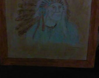 Indian Chief wood burning picture