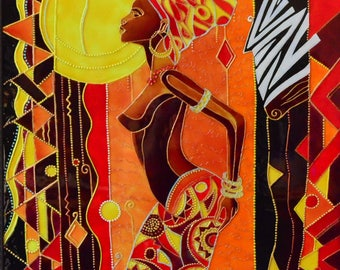 "Stained glass painting ""Dancing African"""