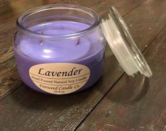 Lavender | 10 fl oz Handpoured Soy Candle with Wood Wicks