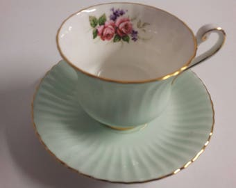 Paragon Pale Green Floral Roses Tea Cup and Saucer Set