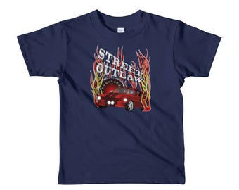 Street racing outlaw for those who love to drag race sleeve kids t-shirt