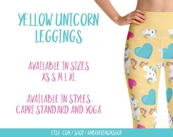 Leggings, Woman's Printed Leggings, Yoga Leggings, Cute Leggings, Unicorn Leggings, Yellow Unicorn Leggings, Yellow Unicorn Yoga Leggings