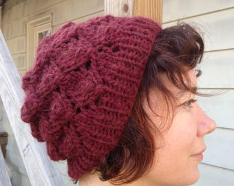 Supersoft Hand-Knit Cranberry Foliage Hat
