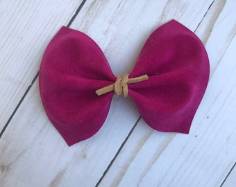 Berry faux suede hair bow, baby headband, alligator clip, nylon headband,