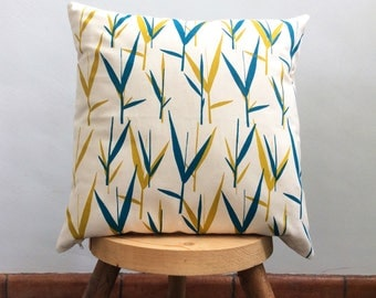 Cushion cover hand printed with reet design in Golden Green-Deep Turquoise