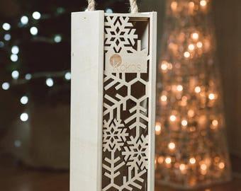 Personalized Wooden Wine Box, Dark Wood Wine Box, Walnut, Christmas wine box, Custom Engraved Wine