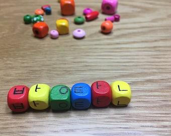 Korean letter wood beads