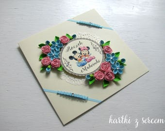 Newborn, baby shower, boy, girl, feet, birth, parents, baptism, first birthday, customised,  quilling card with flowers, mickey mouse