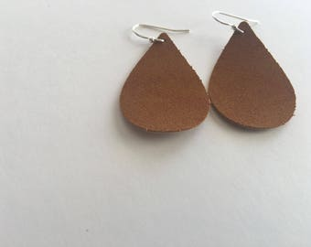 Natural Vegan Friendly Suede Leather Earrings- SMALL- Ready to ship// FREE SHIPPING
