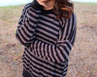 Black and Gray Thin Striped Crewneck