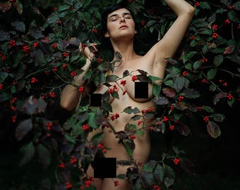 Among Red Berries (Mature) - Fine art color photography print, standing female nude amongst berry bush