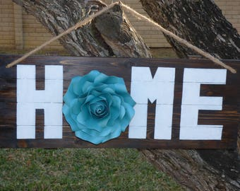 Wall Home Sign, Large Home Sign with Flower, Hand Painted Wall Home Sign, Home Sign For Decor, Rustic Sign For Home, Rustic Sign for Decor.