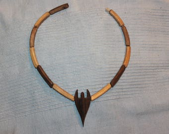 wooden artehno necklace wood knitting