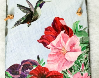 Vibrant Original Acrylic Hand Painted Hummingbird and Petunias on a 14 inches by 9 inches Slate Shingle, Wall Art, Garden Art, Flowers