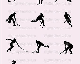 Field Hockey. Clipart. Image. Silhouette. Digital Art. 12 files. PNG. Instant Download.