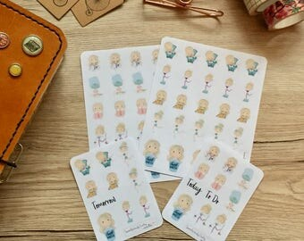 Cute blonde planner girls, planner stickers, TN, Filofax, Erin Condren-Choruses