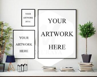 3 Panel Frame Mockup, Thin Black Frame, Styled Stock Photograpy, Scandinavian Style Interior, PSD Mockup, Digital Item, Modern Design