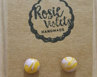 Yellow and lilac marbled polymer clay stud earrings