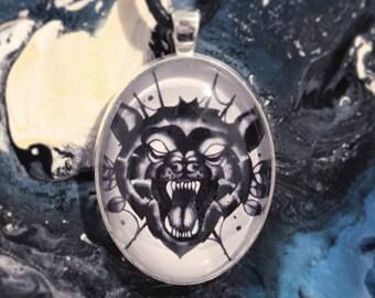 Wolf tattoo pendant