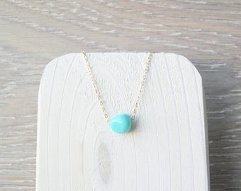 14k Gold Filled Turquoise Necklace, Natural Stone Jewelry, Minimalist, Layering, Simple, Boho, Nugget