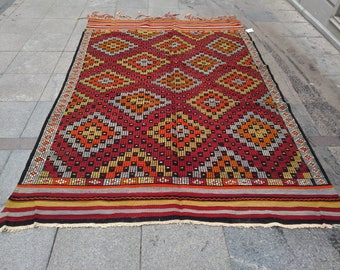 """Handmade kilim rug260x180cm111""""x70"""",Turkish kilim rug,Anatolian kilim rug,vintage kilim rug,tribal kilim rug, Handmade kilim rug"""