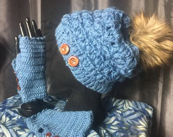Women's Puff Stitch Hand Crocheted Slouch Hat And Matching Wristwarmers