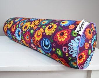 Buckwheat hull bolster pillow, yoga bolster, roll pillow, decorative bolster cushion, buckwheat pillow, łowickie flowers on purple 20''x6''