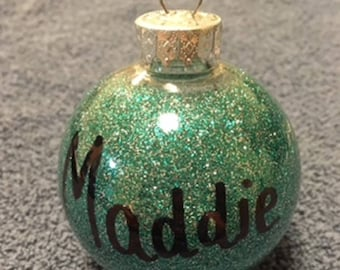 Personalized Glitter Name Christmas Ornaments