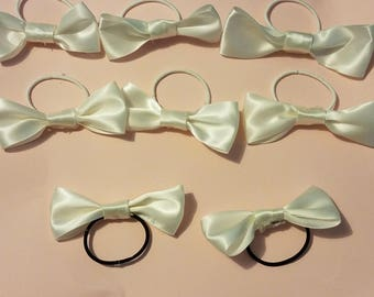 Hairbows made with ribbons and elastic.