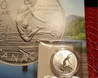 Specimen 2014 Canada 20 Dollar  Pure Silver Coin Sealed in Capsule Plus Folder