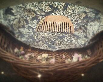 half moon style wood hair comb