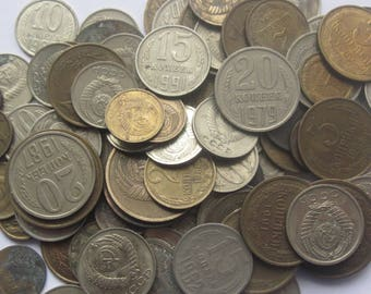 Large lot of 100 coins of the Soviet Union