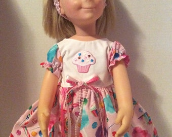 CHATTY CATHY a CHARMIN Birthday dress and headband with pink rose