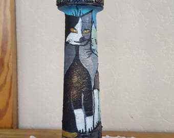 Cats painted Bottles