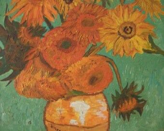 oil painting, replica v. Van Gogh, 12 sunflower/12 sunflowers, hand-painted oils on Spanpaltte