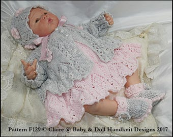 "Knitting Pattern Lacy panelled Dress and Jacket Set 16-22"" doll/preemie-3m+ baby"