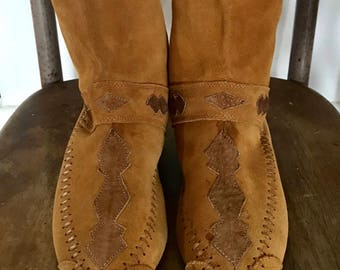 Vintage Leather Moccasin Boots