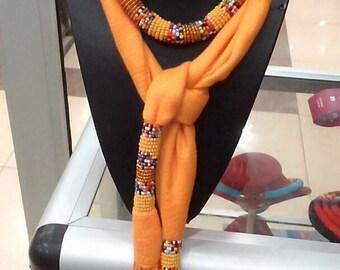 Shawl, African beaded scarf, beaded scarf, scarf, handmade beaded scarf, beaded scarf necklace