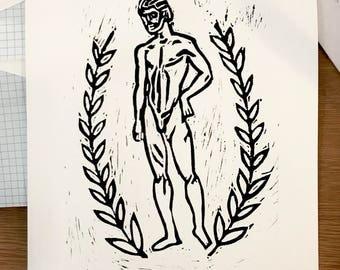 God of a Man Lino Print