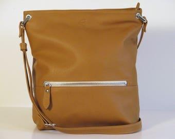 Light brown leather women shoulder bag