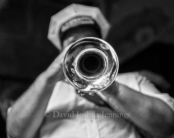 Brassmouth - New Orleans 2016 - Fine Art Photograph - Street Photography - Black and White - Fine Art Print - Jazz - Music - Trumpet