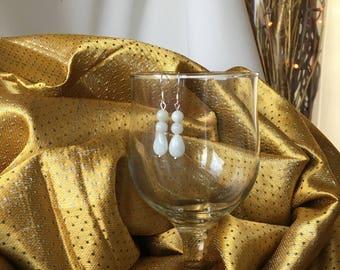 Green Jade Teardrop Gemstone & Sterlng Silver Earrings