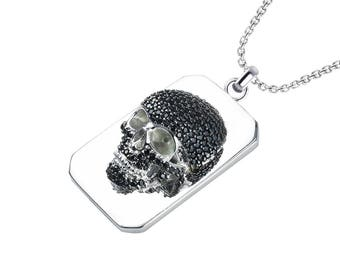 "Three Dimensional Skull Necklace with 24"" Chain in Solid Sterling Silver for Bikers"