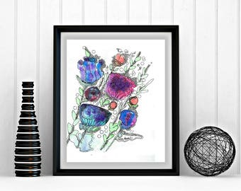 8 x 10 jpeg, Printable Art, Abstract Art, Downloadable artwork, colorful, whimsical, bright, print your own, abstract flowers, watercolor