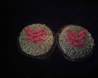 Silvery glitter and pink bows reusable nipple pasty