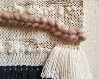 Woven Wall Hanging/Woven Wall Tapestry Weaving/Light Brown, White Wall Decor NEW